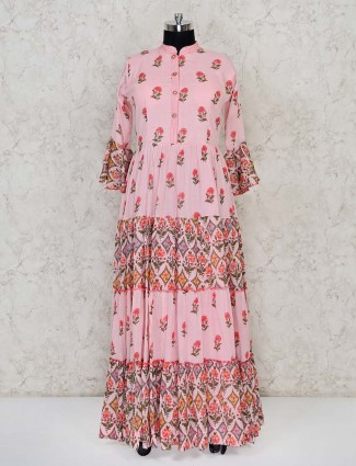Printed cotton festive wear pink anarkali