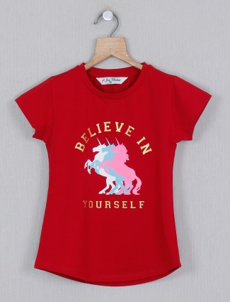 Printed cotton girls top in red