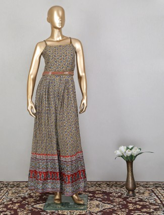 Printed cotton jumpsuit in olive green color