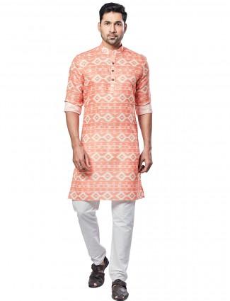 Printed cotton kurta suit in orange colour