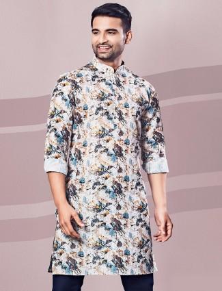 Printed cream full sleeves kurta for festive