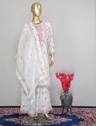 Printed cream hue sharara suit for party sessions
