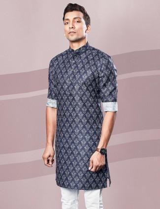 Printed dark blue cotton kurta festive wear