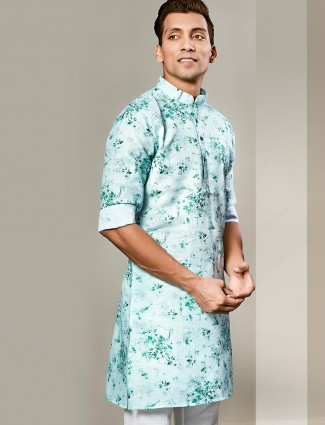 Printed green cotton mens kurta
