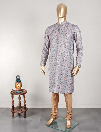 Printed grey cotton kurta suit for festive