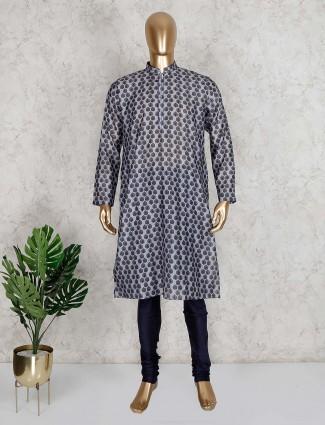 Printed grey cotton mens kurta suit