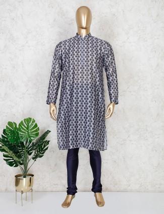Printed grey mens kurta suit in cotton