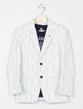 Printed grey terry rayon party blazer