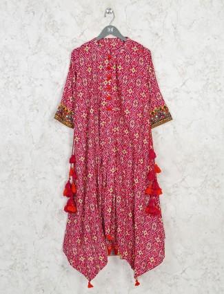 Printed magenta cotton casual kurti