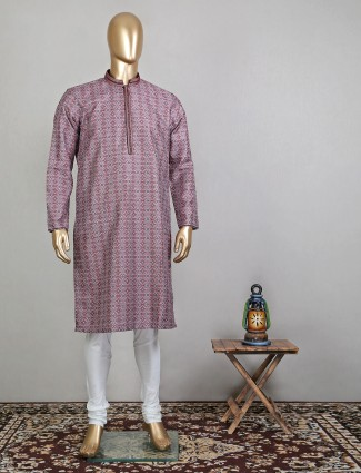 Printed maroon cotton kurta suit for festive