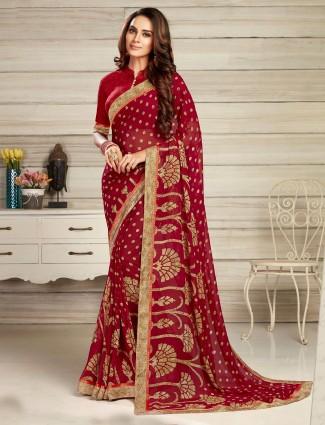 Printed maroon georgette sari