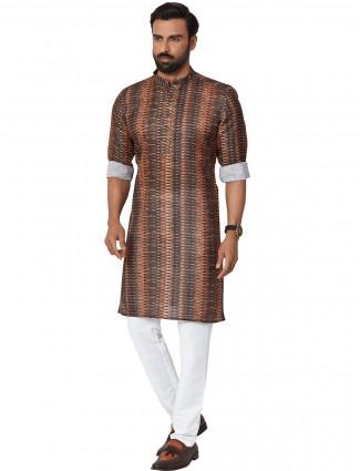 Printed maroon hue kurta set for men