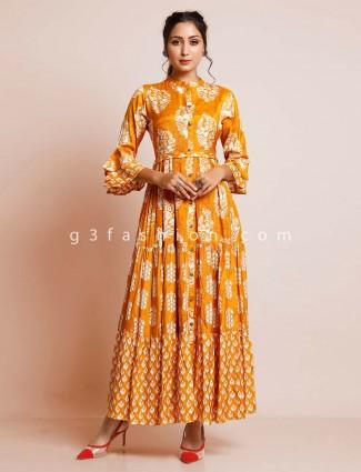 Printed mustard colour kurti for women