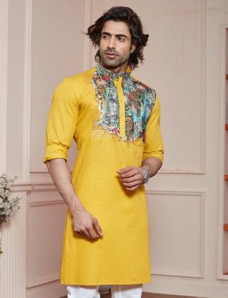 Printed mustard shade cotton kurta for festive