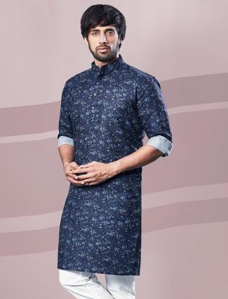 Printed navy cotton festive wear kurta