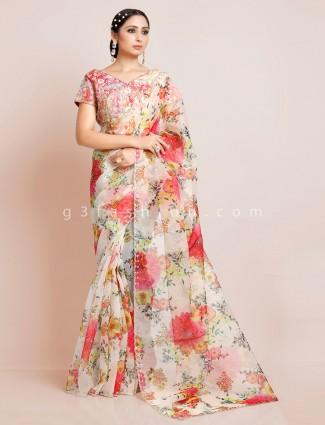 Printed off white readymade blouse organza tissue silk saree