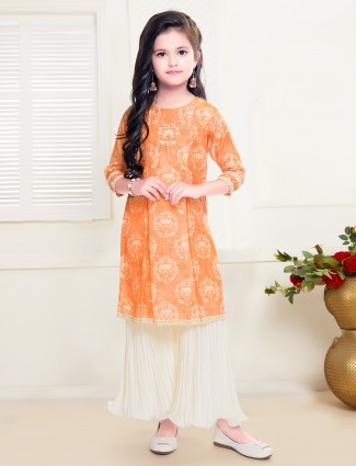 Printed orange tint party wear sharara suit for girls