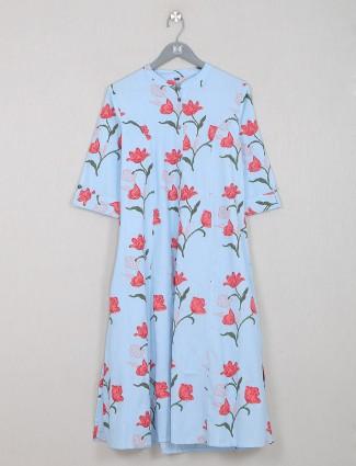 Printed outstanding sky blue cotton casual wear kurti