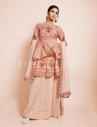 Printed peach palazzo suit for wedding session