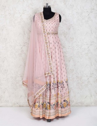 Printed pink cotton silk party anarkali suit
