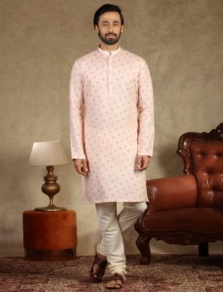 Printed pink linen kurta suit