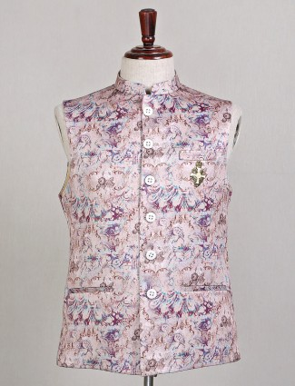 Printed pink waistcoat for party wear