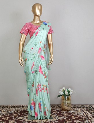Printed pista green silk party wear saree with ready made blouse