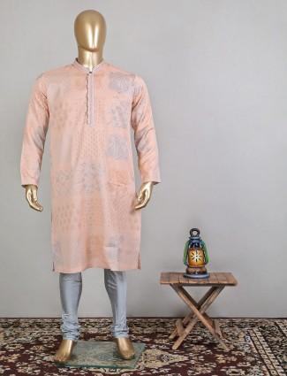 Printed raw silk designer aqua for festive wear