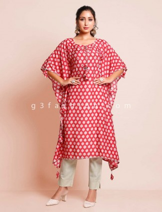 Printed red casual wear kurti for women
