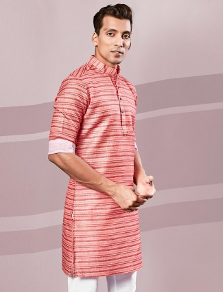 Printed red cotton mens kurta