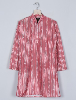Printed red kurta suit for little boys in cotton