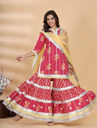 Printed ruby red Festive events cotton punjabi style sharara set