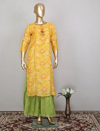 Printed sharara suit in yellow and green shade