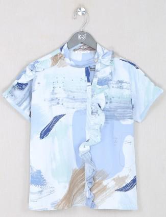 Printed sky blue georgette casual wear top