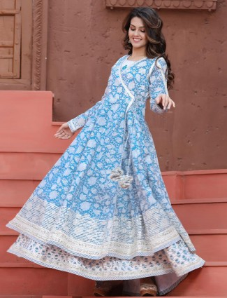 Printed sky blue kurti for day to day look in cotton
