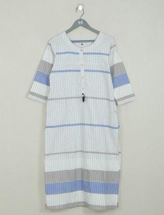 Checks style cream shade cotton casual kurti