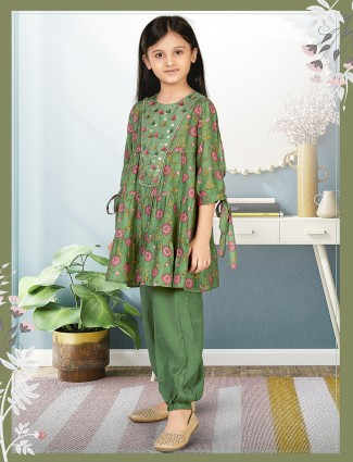 Printed style green hue dhoti suit for little girl