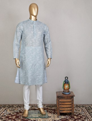 Printed style grey shade festive wear kurta with churidar