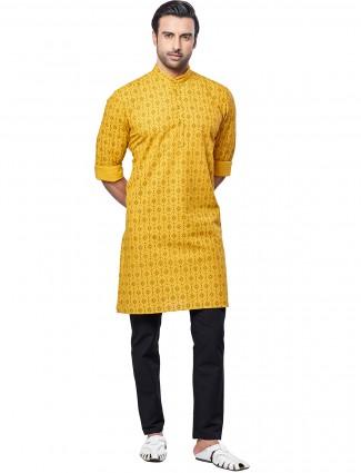 Printed style mustard tint mens kurta suit