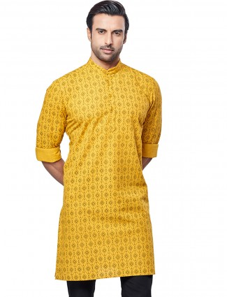 Printed style mustard yellow men kurta