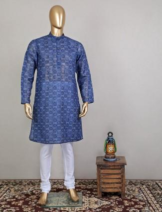 Printed style navy shade festive wear kurta with churidar