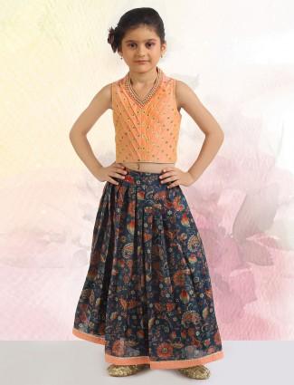 Printed style orange and blue shade lehenga for girls