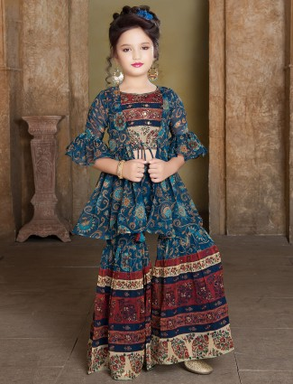 Printed teal blue sharara suit for girls in georgette
