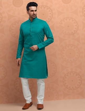 Printed teal green festive kurta suit