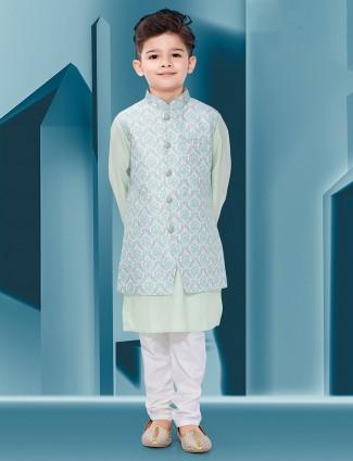 Printed white and pista green cotton silk waistcoat set