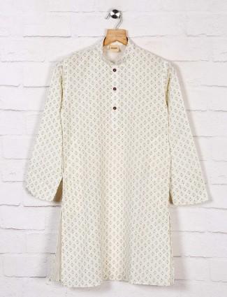 Printed white cotton kurta suit