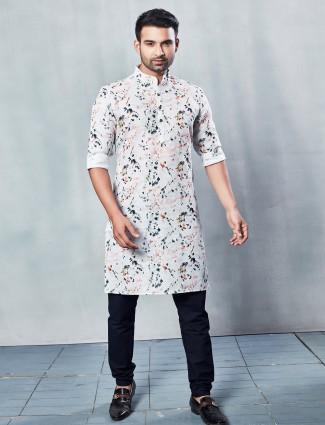 Printed white cotton men kurta suit for festive