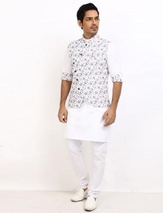 Printed white cotton waistcoat set