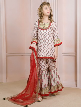 Printed white sharara suit for fesitve sessions