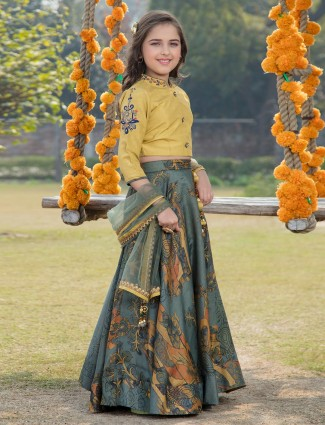 Printed yellow and blue lehenga choli in cotton silk